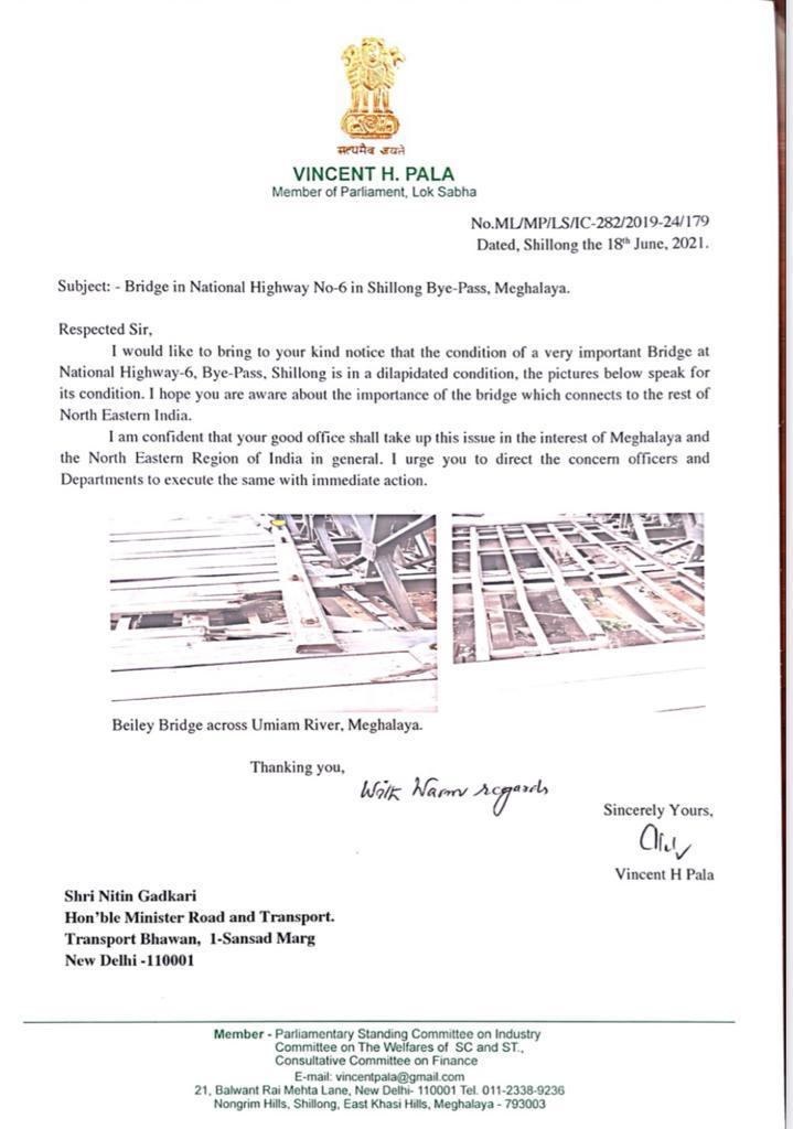 Congress MP Pala writes to Nitin Gadkari on vital bridge on NH-6 in Meghalaya 5