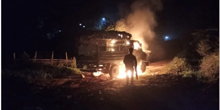 The Assam Rifles vehicle set ablaze by angry villagers in Manipur.