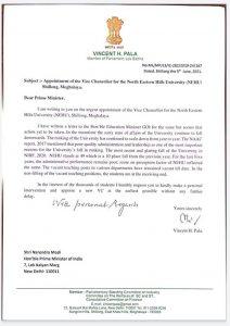 Meghalaya: Shillong MP Vincent Pala demands appointment of new VC in NEHU, writes to PM Modi 2