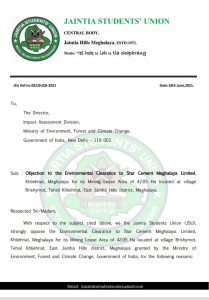 Jaintia Students' Union writes to NGT and MoEF&CC against Environment Clearance accorded to Star Cement 4
