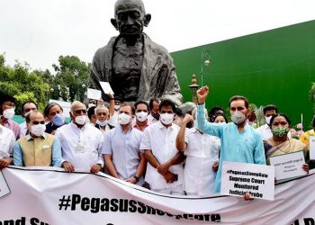 Pegasus Row: Opposition MPs stage protest outside Parliament, demand SC monitored probe 1