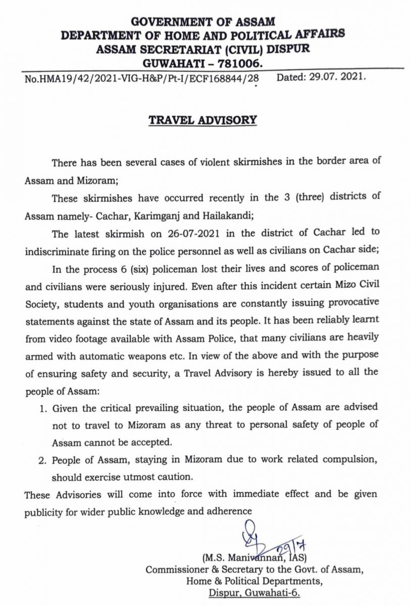 Assam Government advises people from state not to travel to Mizoram 5