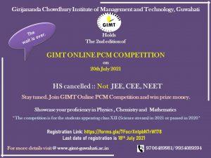 Assam: GIMT announces second edition of online PCM Competition 2021 4