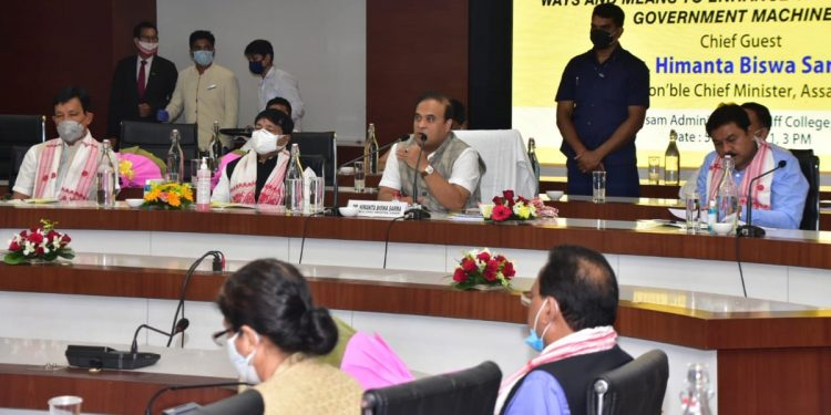 Assam chief minister Himanta Biswa Sarma speaking at the workshop organized for senior government officers on 'Ways and means to enhance the efficiency of government machinery' at Assam Administrative Staff College in Guwahati.
