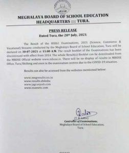 Meghalaya MBoSE exam results
