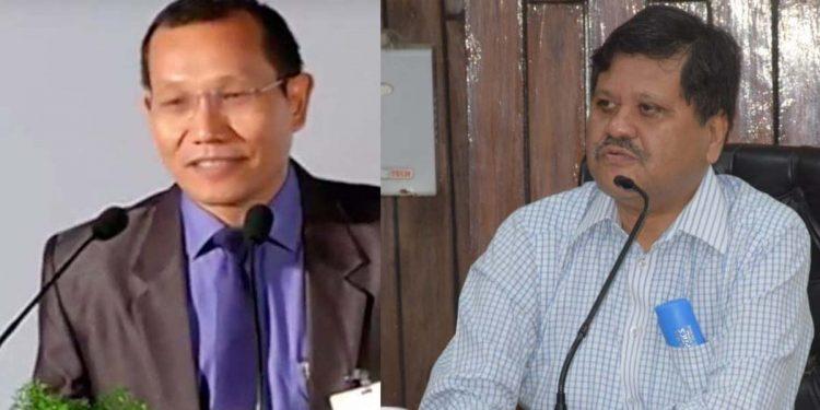 Mizoram chief secretary Lalnunmawia Chuaungo (left) and Assam chief secretary Jishnu Barua