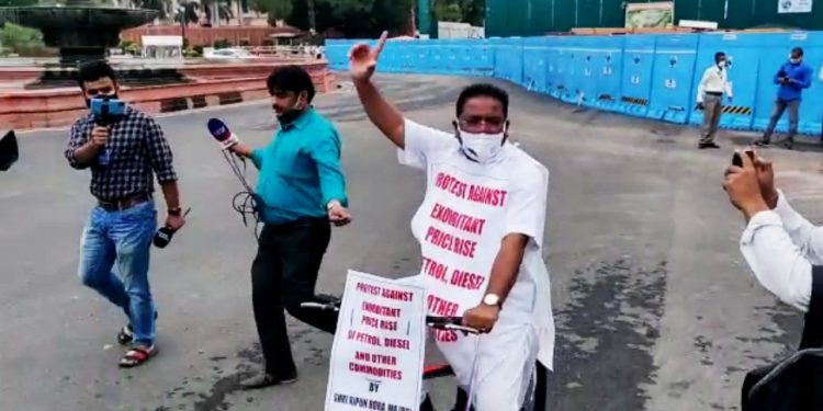 Congress MP Ripun Bora rides bicycle to Parliament to protest against rise in fuel prices 1
