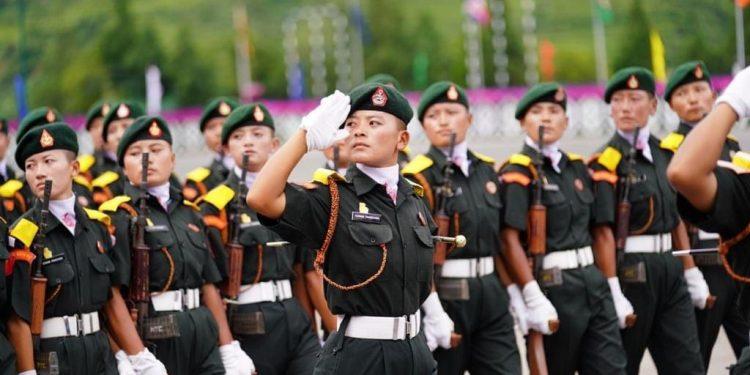 Women recruits of Bhutan Royal Army