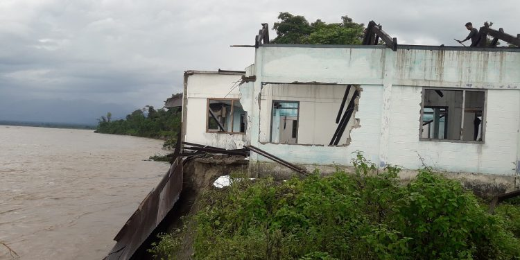 Borguli Lower Primary School being eroded by Siang River.