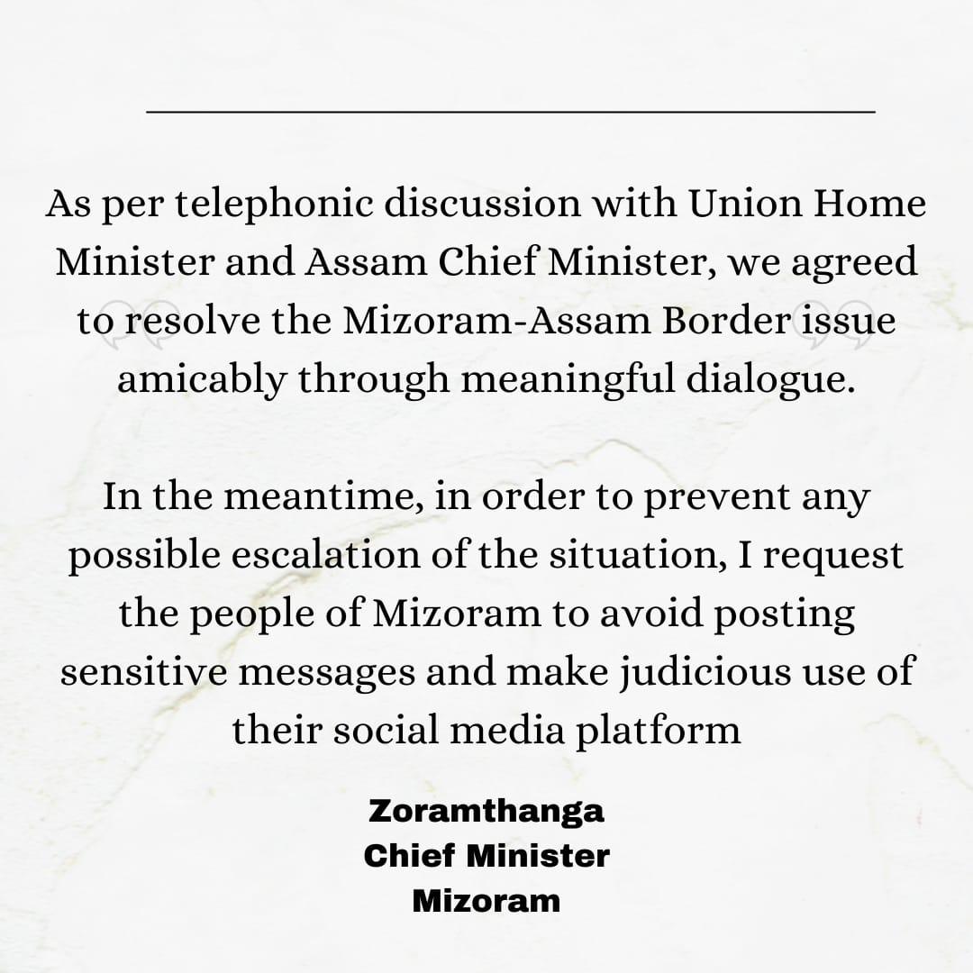 Assam, Mizoram agree to resolve border issue through dialogue 5