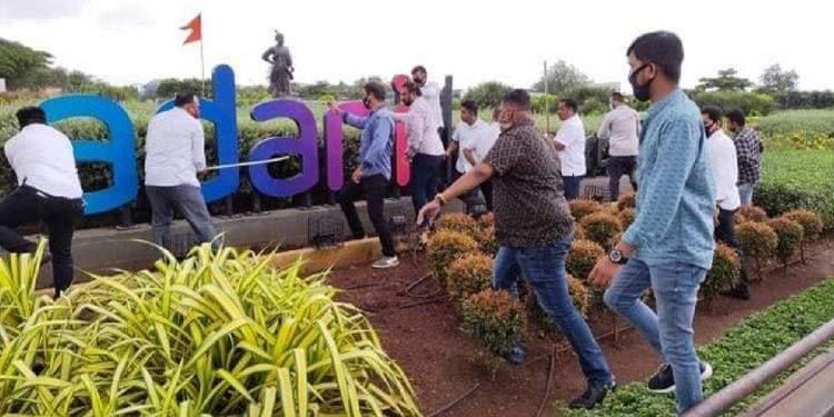 Shiv Sena workers vandalise, remove board naming Mumbai airport as 'Adani Airport' 1