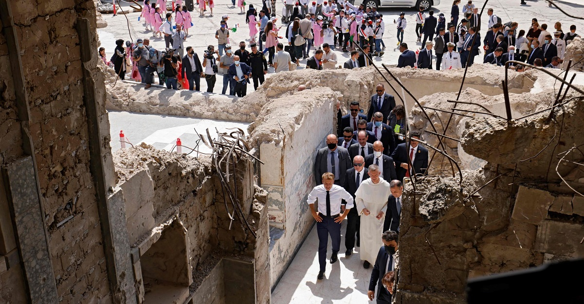 French President Emmanuel Macron visits former ISIS-stronghold Mosul in Iraq, visits Our Lady of the Hour Church 5