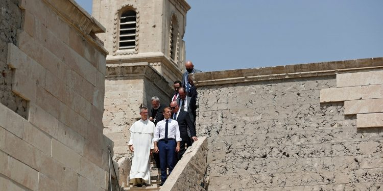 French President Emmanuel Macron visits former ISIS-stronghold Mosul in Iraq, visits Our Lady of the Hour Church 1