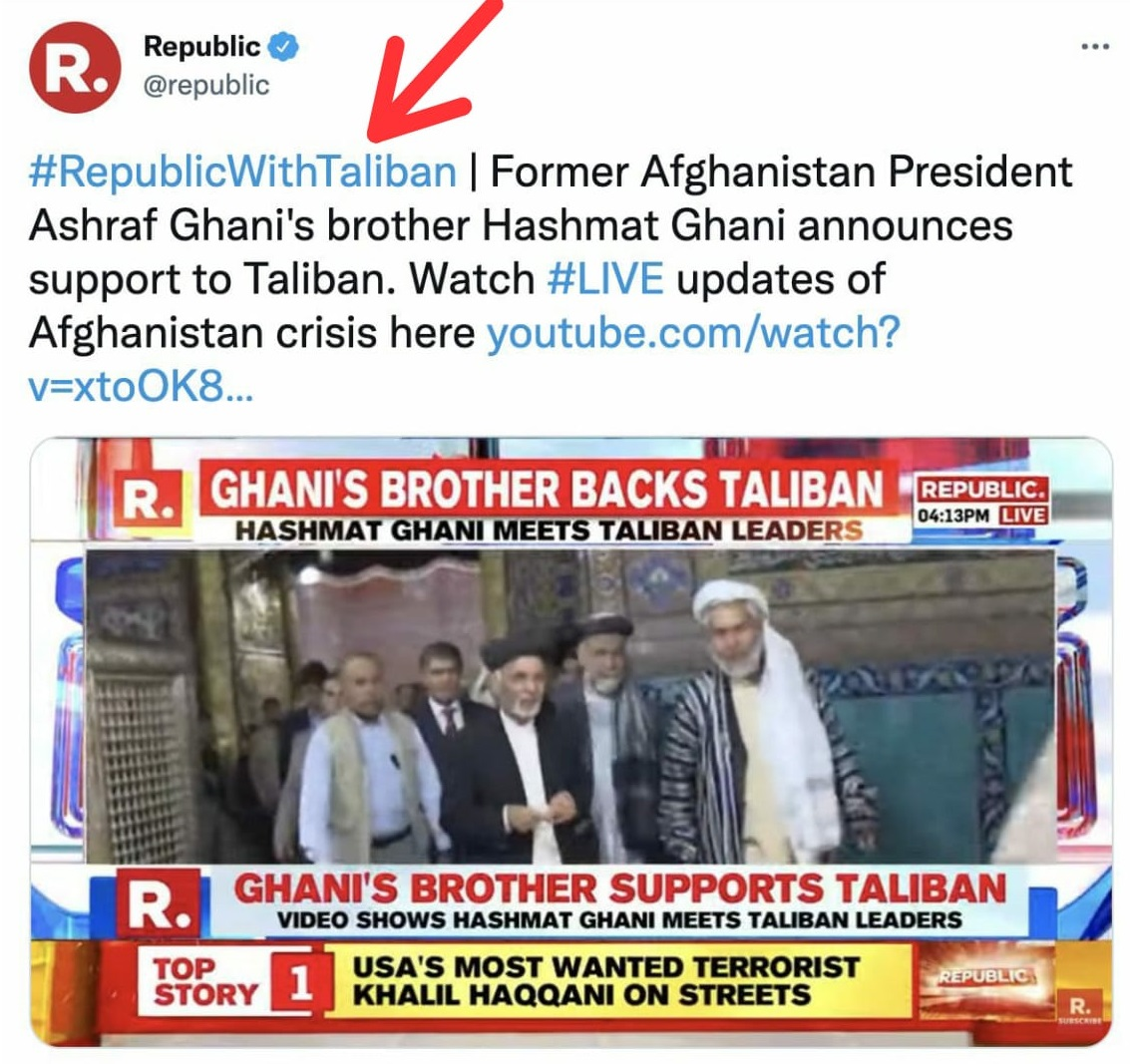 Republic TV 'supports' Taliban regime in Afghanistan? Will Arnab Goswami be booked under UAPA? 4