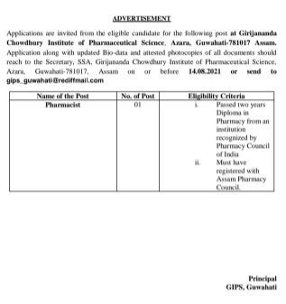 GIPS Guwahati invites applications for post of pharmacist 4