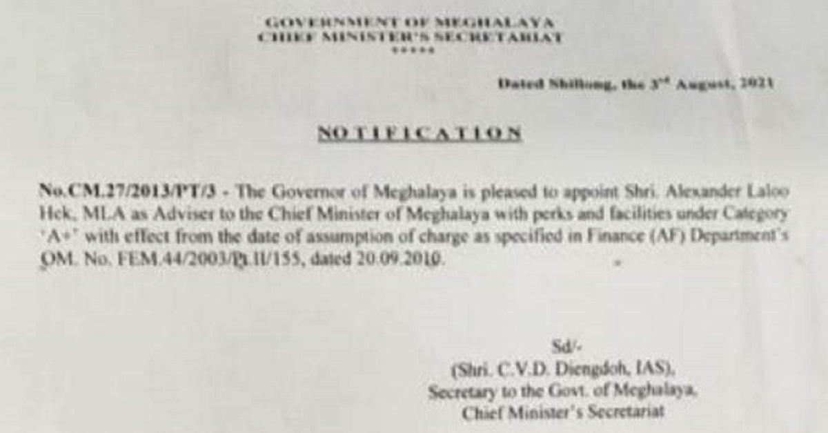 BJP MLA AL Hek appointed as Adviser to Meghalaya CM 5