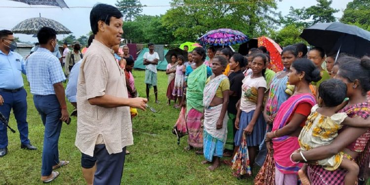 Assam minister UG Brahma visits relief camps in flood affected Chirang district 1