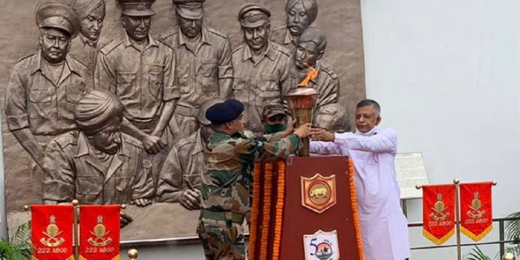 Swarnim Vijay Mashaal received by Assam MLA Siddhartha Bhattacharya at War Memorial in Guwahati 1