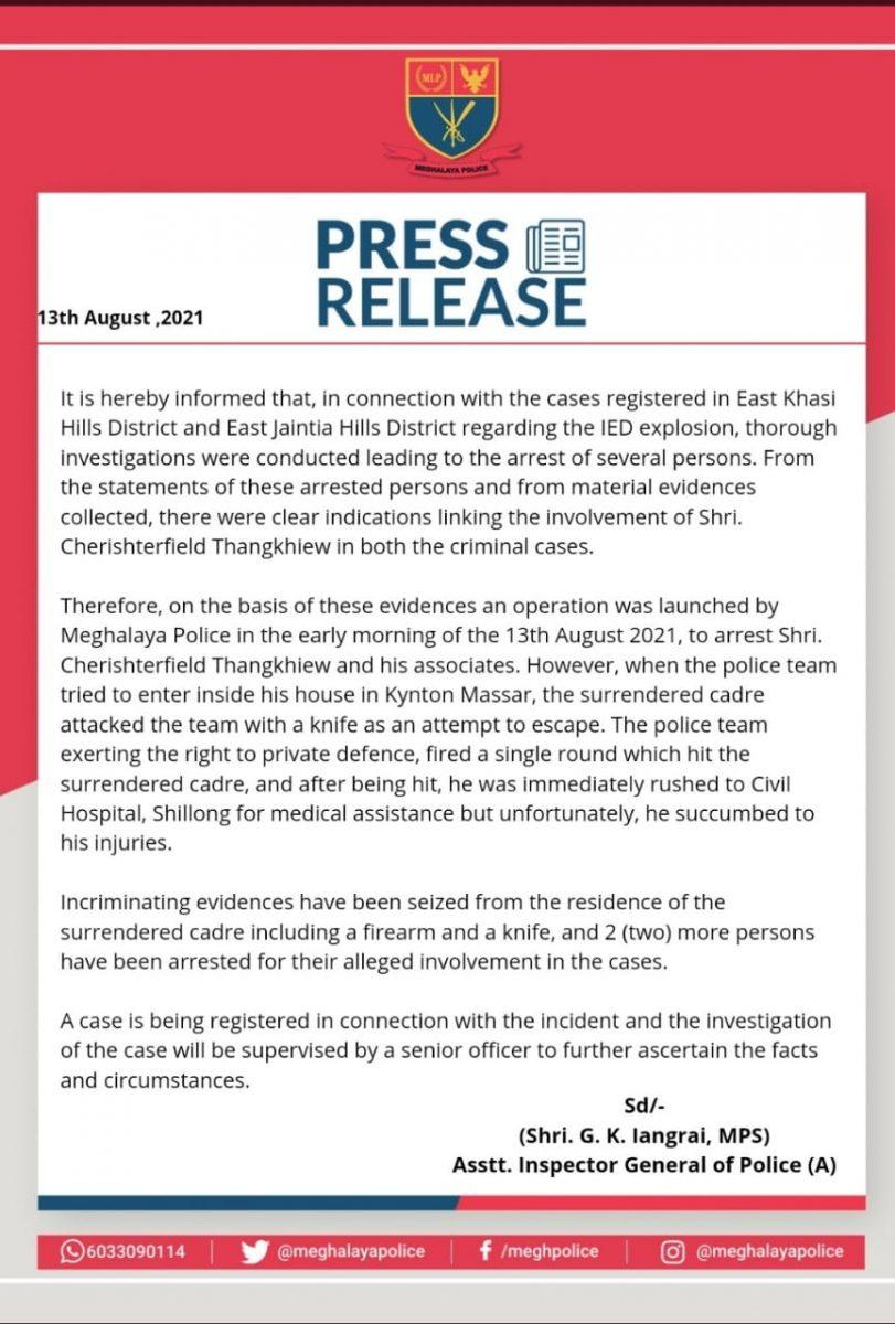 Meghalaya: Surrendered HNLC leader Chesterfield Thangkhiew dies in 'retaliatory' police firing 5