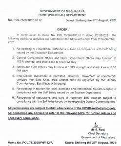Educational institutes to re-open in Meghalaya from September 1; inter-district movement permitted 4