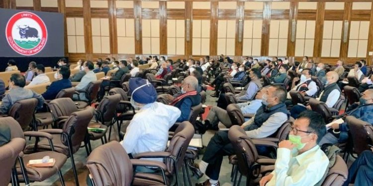 Members of tribal hohos at the August 18 consultative meeting in Kohima.