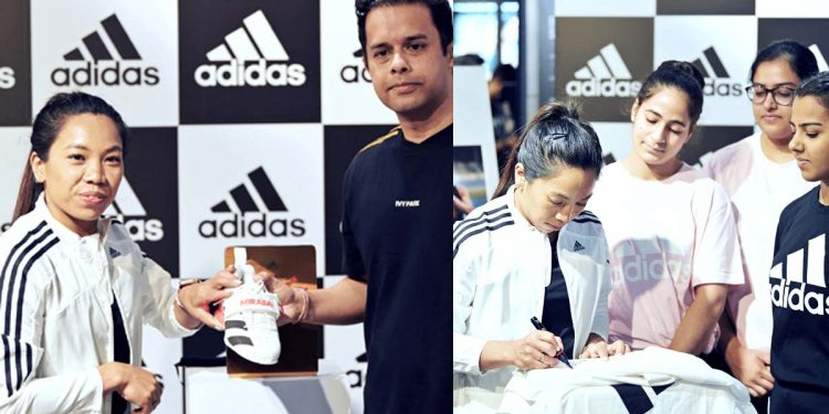 Mirabai Chanu in Adidas store