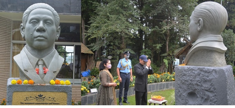 Nagaland Governor RN Ravi pays tribute to Dr. Imkongliba Ao at his statue at Raj Bhavan in Kohima on Monday.