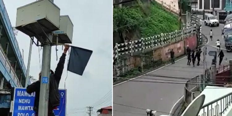 Black flags galore Shillong, clash erupts between 'miscreants' and police over ex-HNLC leader Chesterfield Thangkhiew's 'killing' 1