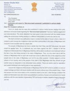 Meghalaya's BJP minister Sanbor Shullai issues clarification on his 'eat more beef' comment 4