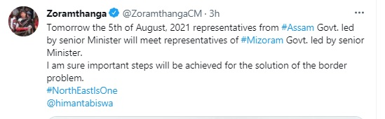 Ministerial level talks on Assam-Mizoram border dispute to begin at 11 am on Thursday in Aizawl 4