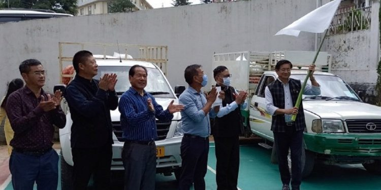 Nagaland Adviser to Horticulture and Border Affairs Mhathung Yantha flagging off distribution of winter vegetable seeds in Kohima on Thursday.