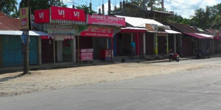 In photo: A deserted street in Udalguri town during the bandh hours on Monday.