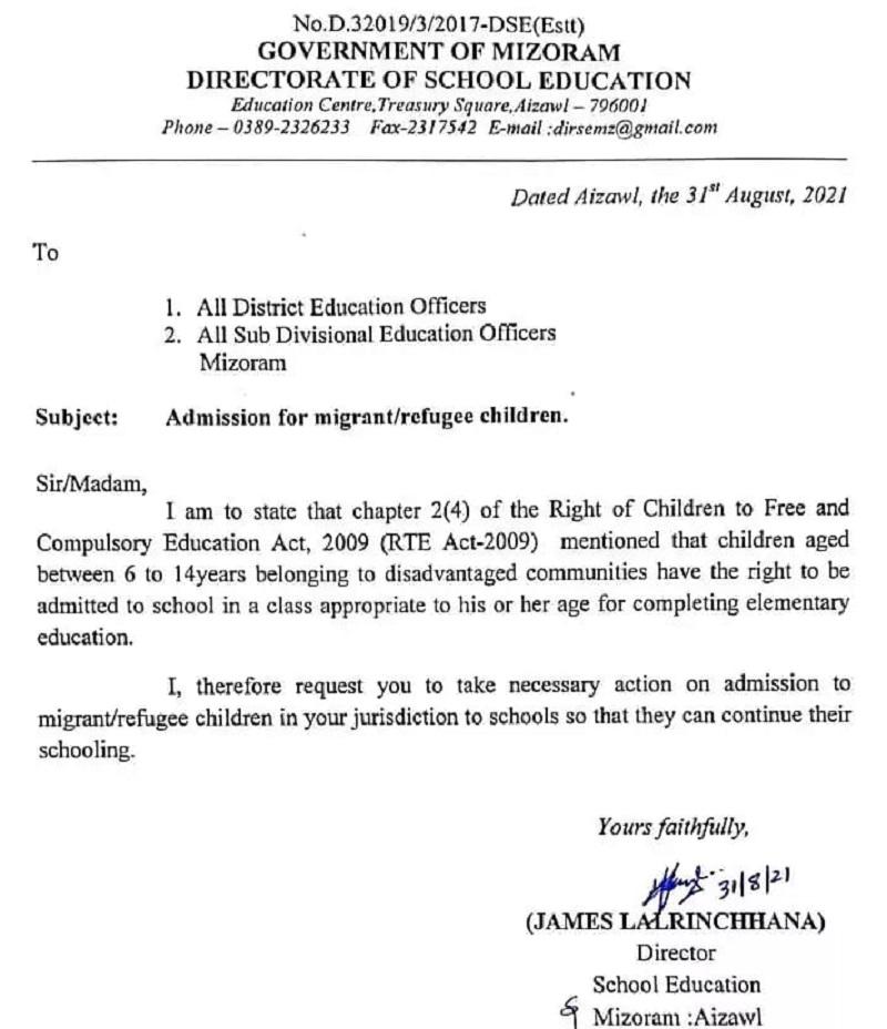 Myanmar refugee children to be allowed admission in Mizoram schools 5