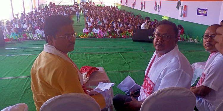 Assam Congress president Bhupen Kumar Borah (left) in Tinsukia.