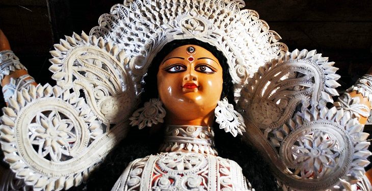 The image of Durga at  an atrist's studio in Guwahati..Photo:SUBHAMOY BHATTACHARJEE