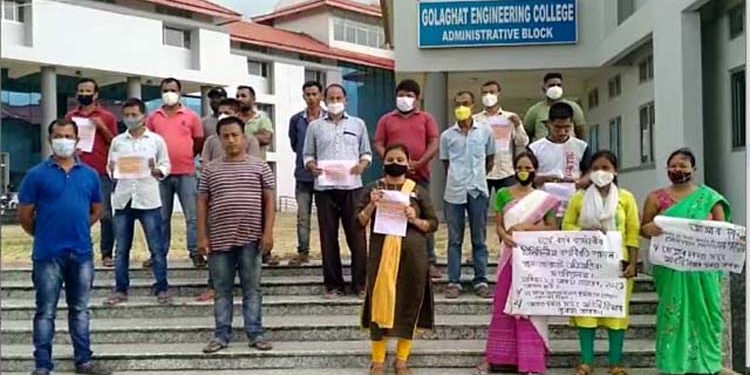 Golaghat Engineering Staff protest