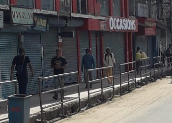 Shops in downtown Nyamo Lotha Road in Dimapur down shutters during the shutdown on Thursday. Pic by Bhadra Gogoi