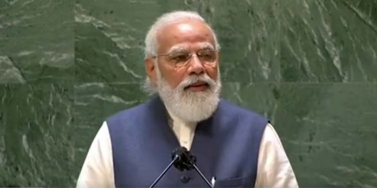 PM Narendra Modi addressing the UN General Assembly in New York.