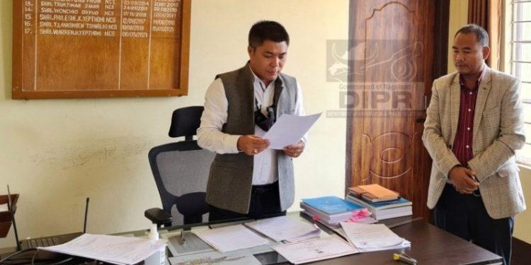 NDPP candidate S Keoshu Yimchunger filing his nomination for the byelection at Shamator ADC's office on Friday.
