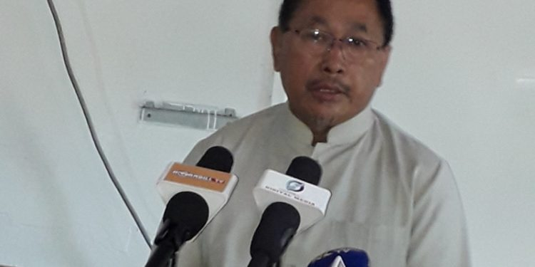 Nagaland Pradesh Congress president K Therie addresing a press conference in Dimapur on Tuesday.